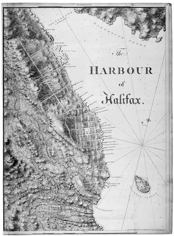 "J.F.W. DesBarres' hand-drawn map, ""The Harbour of Halifax,1777"""