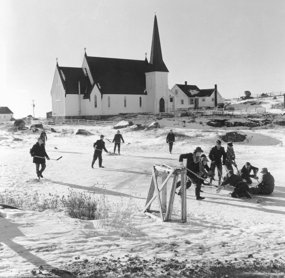 Ice Hockey in Peggy's Cove, ca 1950s