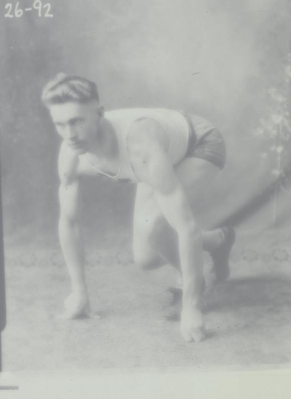 D.R. Chisholm photographed for the St. Francis Xavier track team, date unknown