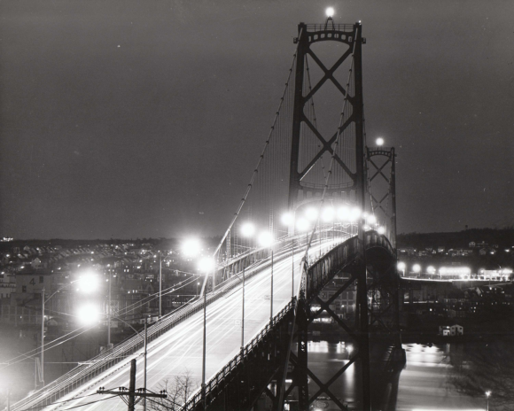 Angus L. MacDonald Bridge view from Halifax, ca 1950s