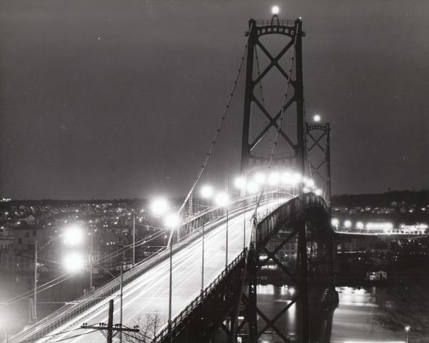 Angus L. MacDonald Bridge view from Halifax, ca 1950s