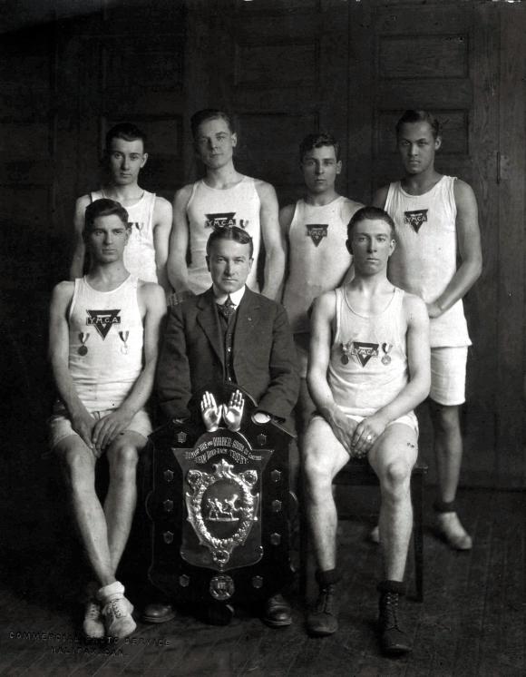 Halifax Y.M.C.A. Harriers, winners of the Maritime Dunlop Trophy Five Mile Team Road Race, 1920