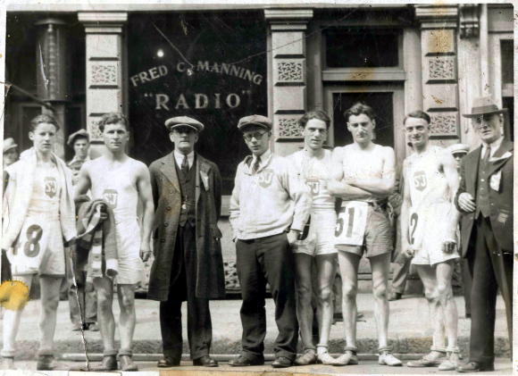 St. Joseph's Team competing in the Herald Road Race on Argyle, ca 1930s
