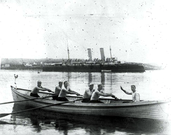 Royal Navy Rowing Crew in Halifax harbour, date unknown