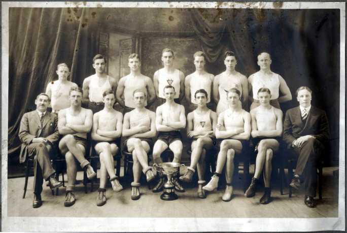 The Halfax YMCA Hexathlon Team throwing shade in 1928
