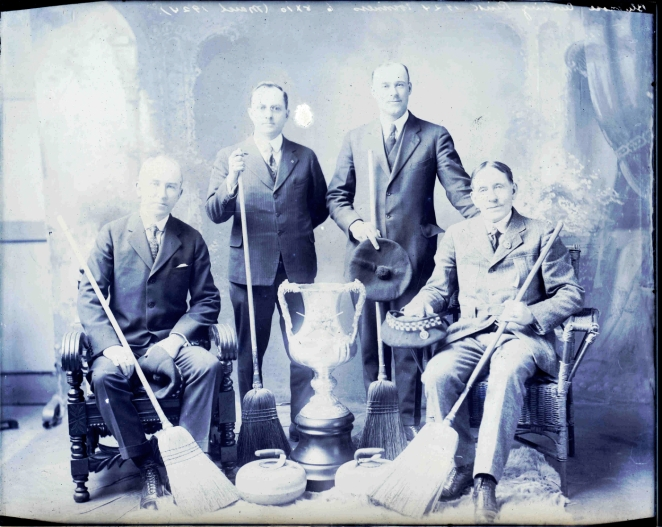 The Bluenose Curling Club throwing it out to Challengers in 1924