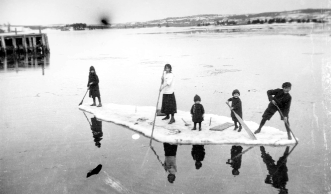 The Buckley kids in Guysborough making an iceberg their b*tch ca 1900s