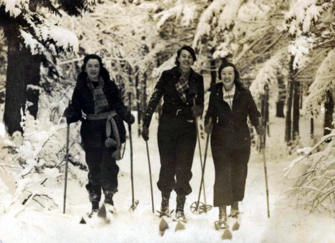Olympic Running Medallist and all-around-queen-badass, 'Canada's Flying Schoolmarm' Aileen Meagher (on left) crosstrains like a boss on xcountry skis in Point Pleasant Park with her buds, Isabel Page and Mary Duggan ca 1935