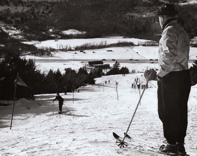 Haligonians shredding the gnar on the Headwall in the Wentworth Valley circa 1940s