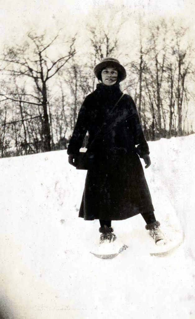 Helen Creighton crushing snowshoe cardio Saturdays in the valley in 1916