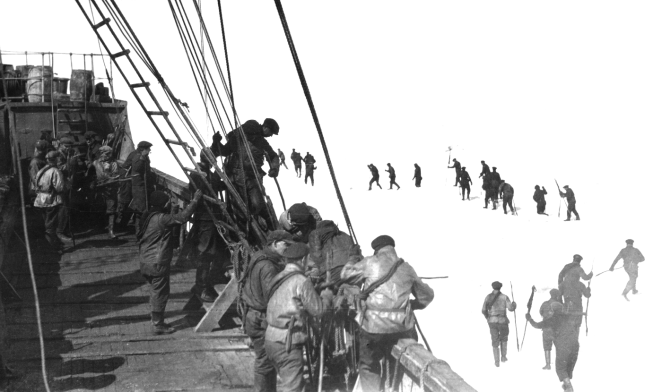 "Tough as nails Nova Scotian Fishermen on the ice flows off NFLD, ""watch your step, boys!"" ca 1923"
