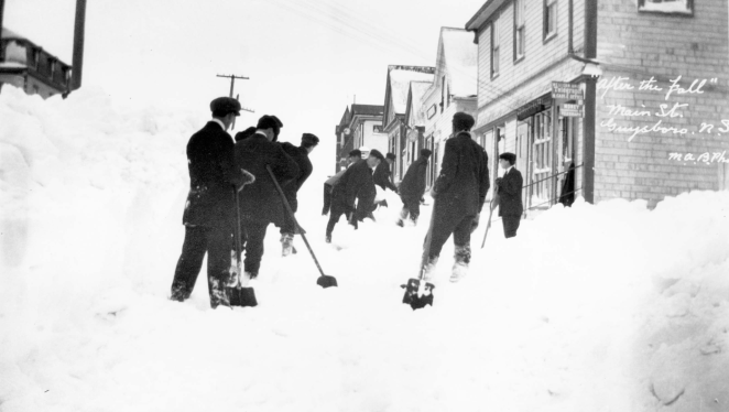 "Blazing trails through the aftermath, aka our crew run next week. ""After the fall"" on Main St in Guysborough in 1913"